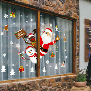 Merry Christmas Wall Stickers Window Glass Festival Wall Decals Xmas Decorations