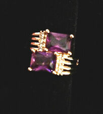 UNUSUAL 18K GOLD FILLED BYPASS RING WITH 2 AMETHYST STONES  -SIZE 7-1/4