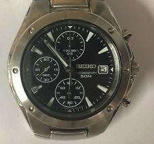 Seiko 7T92-0FX0 Stainless Steel Chronograph Watch with Date