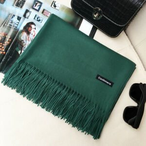 New Large 100% Soft Cashmere Wrap Beautiful Green Color