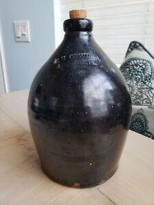 Late 1800's Antique Dark Salt Glazed Stoneware FH COWDEN Jug Harrisburg PA Brown