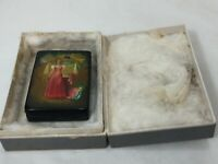 Russian Fedoskino Lacquer Miniature Painting Rectangular Box, Signed by Artist