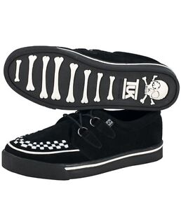 TUK creeper sneaker Black suede with white interlace unisex A9182