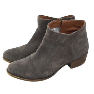 Lucky Brand LP Brolley Booties Gray Suede Leather Ankle Boho Boots Size 7.5 M