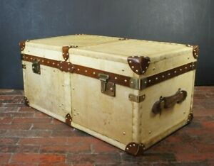 Bespoke Handmade English Velum & Leather Coffee Table Trunk