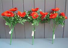 3 X Artificial Pequeños Poppy Flower arbustos