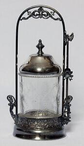 ANTIQUE Quadruple SILVERPLATE VICTORIAN PICKLE JAR CASTOR  With  TONGS