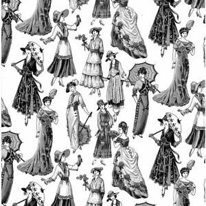 Nutex Victorian Ladies on cream 100% Cotton Fabric FAT QUARTER