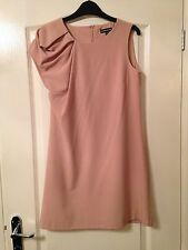 Warehouse Dusky Pink Nude Ruched Shoulder Dress Size 10