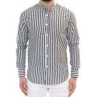 Camicia Uomo Collo Coreana Righe Bianco Nera Cotone Rigata Estiva Slim Fit