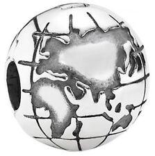 PANDORA Genuine Globe Clip charm Sterling Silver S925 ALE 791182