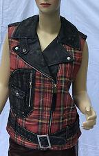 Ralph Lauren Denim and Supply Leather Jacket Vest Womens Medium Black Red Plaid