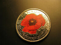 Canada  2015 Remembrance Day WWIII Poppy Coloured 25 Cent Coin.