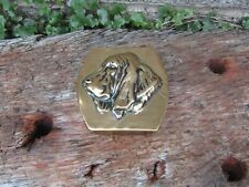 More details for quirky antique solid brass snuff box with dog on the front - early-mid 20th cent