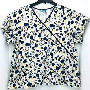 Scrub HQ Size 2XL Scrub Top White With Blue And Yellow Circles Medical Nurse XXL