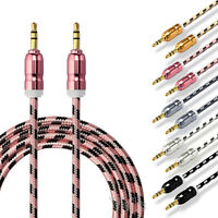 1M 3.5mm Braided STEREO Jack to Jack Aux Cable Audio Auxiliary Lead PC Car GOLD