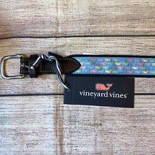 Vineyard Vines Boys Club Easter Whale Ocean Breeze Belt Size 28 $45