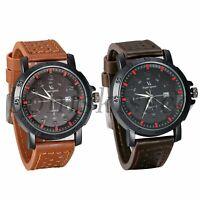 Men's Classic Retro Leather Band Date Zone Dial Analog Quartz Round Wrist Watch