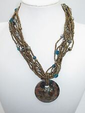 Statement Collar Necklace Metallic Layered Beaded Artisan Pendant Blue Brown