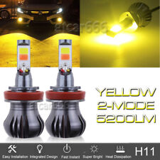 2x LED H11 Driving Fog Light Bulb Lamp 3000K Bright Yellow Amber w/ Flash Mode