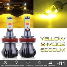 2x LED H11 Driving Fog Light Bulb Lamp 3000K Bright Yellow Amber w/ Flash Mode