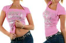 ♥ SeXy Miss DamenTop Bolero StYle Long Shirt M/L 36/38 Rosa Silber Letter Print