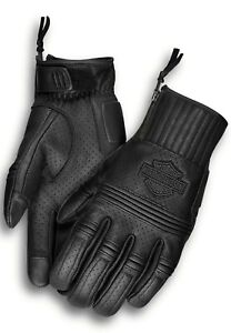 Harley Davidson Men's Layton Perforated Leather Gloves MEDIUM