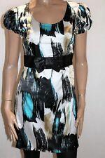 Sweetacacia Brand Blue Multi Short Sleeve Bow Band Dress Size 12 BNWT #SC04