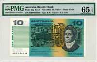 1991 AUSTRALIAN RESERVE BANK $10 NOTE GRADATED BY PMG  65EPQ GEM UNC MRP 996088