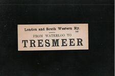 L@@K  London and South Western Railway Luggage Label From Waterloo to Tresmeer