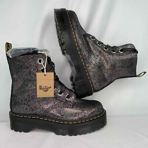 Dr. Martens Women's Molly Boots Iridescent Crackle Gunmetal Size 11 NEW Shoes