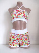 Schminke: size 8 candy jelly print Lycra set hot-pants & top club festival dance