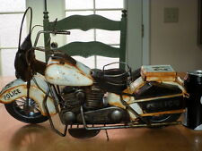 """METAL CONSTRUCTION - POLICE - HARLEY DAVIDSON MOTORCYCLE STATUE, 15.5"""" LENGTH"""
