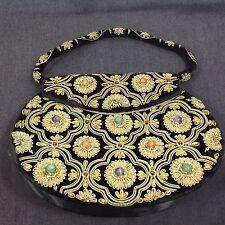 Vintage Handmade Gemstone Beaded Purse Black Made in India
