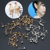 100Pcs DIY Earrings Post Pin Ball Studs with Loop For Jewelry Making Findings