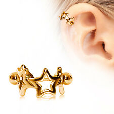 16g 12mm Cartilage Cuff Earring Gold Ring Four Star Straight Barbell Ear Tragus
