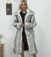 Womens Lapel Mink Fur Fox Fur Coat Jacket Winter Warm Trench Long Parka Outwear