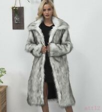 Womens Lapel Mink Fur Faux Fur Coat Jacket Casual Warm Trench Long Parka Outwear