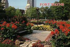 Freiman Square, Flower Garden Bench, Skyline, Fort Wayne, Indiana, IN - Postcard