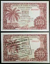 Equatorial Guinea Lot of 2 Notes 1969 100 Pesetas Guineanas & 1980 1000 Bipkwele