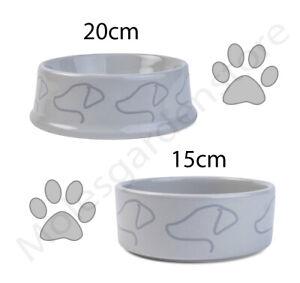 Grey Ceramic Dog Food Bowl Dishwasher Safe 15cm 20cm