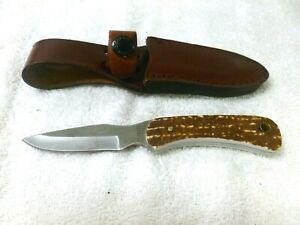 """Schrade Uncle Henry Fixed Knife 2.75"""" Stainless Steel Blade Delrin Stag Handle"""