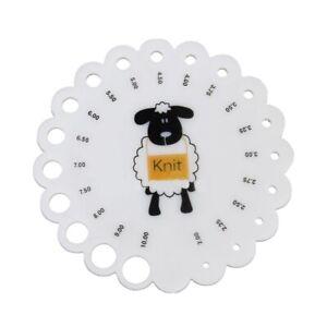 SHEEP Knitting Needle Gauge Size 2mm to 10mm Metric Sizing Chart Rigid Plastic