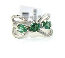 Emerald & Diamond Cluster Criss Cross Weave Ring Band 14K White Gold 1.04Ct