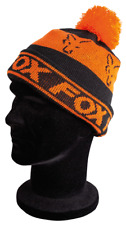Fox Collection Beanie Black Orange Fleece gefüttert Schwarz Orange Mütze NEW