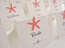Personalised Handmade Starfish Beach Wedding Place Cards x 10