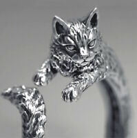 Adjustable Silver Cat Ring Cute Open Band Woman Animal Lovers Jewellery Gift UK
