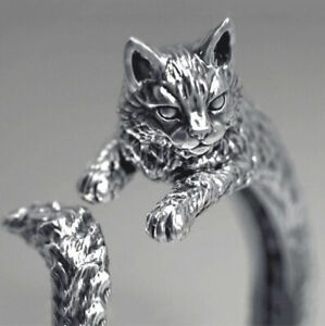 Adjustable Silver Cat Ring Cute Animal Lovers Jewellery Gift For Women For Her