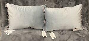 """New Set of 2 Tasseled Velvet 14"""" x 20"""" Oblong Decorative Throw Pillow by BHG"""