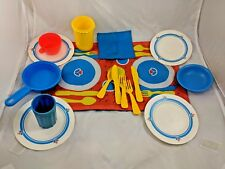 Fisher Price Fun With Food Dishes Placemat Pot Utensils Lot